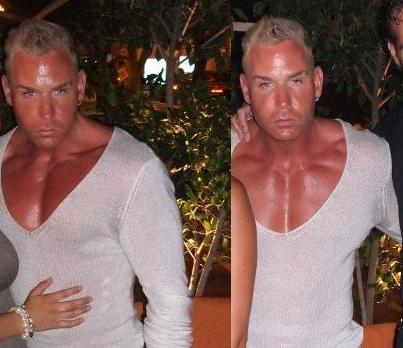 Scary manorexic in deep V shirt