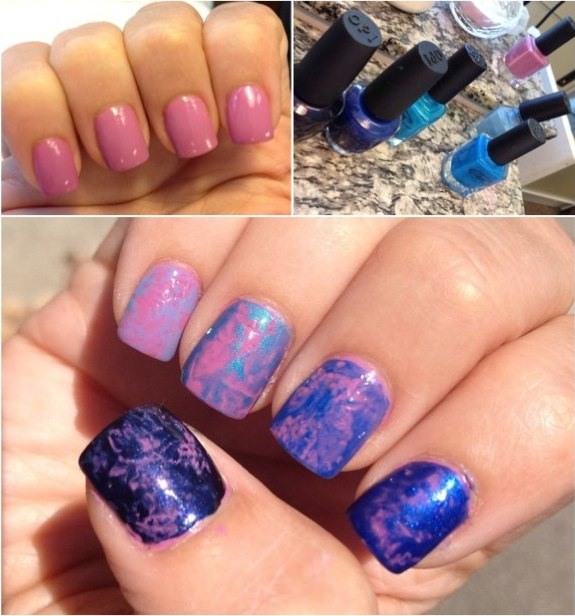 Ombre plastic wrap marble nails